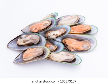 New Zealand green mussels on white background