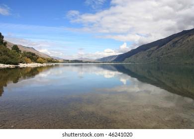 New Zealand. Lake Wakatipu - beautiful travel destination in Otago region.