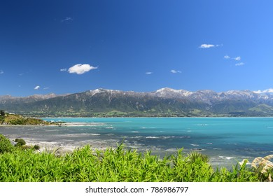 New Zealand landscape with coastal view and snowy mountains Kaikoura