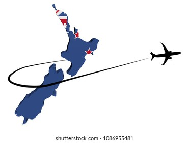 New Zealand map flag with plane silhouette and swoosh 3d illustration