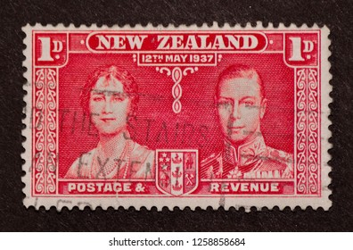 New Zealand - May 12, 1937 : 1 D.  1937 stamp depicting Coronation of King George VI and Queen Elizabeth of U.K. and the Dominions of the British Commonwealth and Emperor and Empress of India.