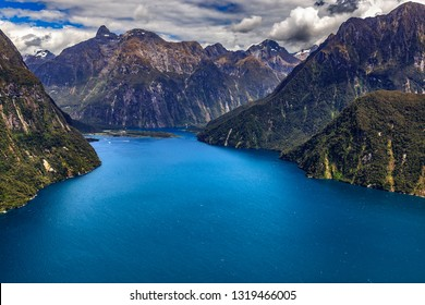 New Zealand. Milford Sound (Piopiotahi) from above - the head of the fiord, Milford Sound Airport in the background