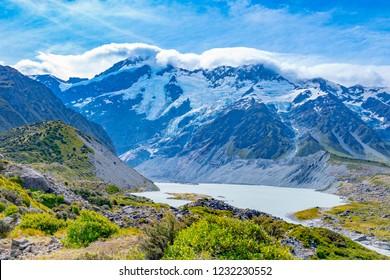 New Zealand Mount Cook. Hooker valley track.