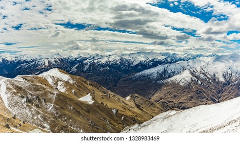 New Zealand mountain panorama seen from top of Coronet Peak, Queenstown, South Island