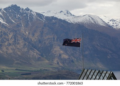 New Zealand national flag with mountain background