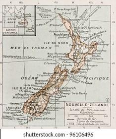 New Zealand old map. By Paul Vidal de Lablache, Atlas Classique, Librerie Colin, Paris, 1894 (first edition)