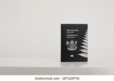 New Zealand passport on white background