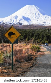 New Zealand Road Sign Attention Kiwi Crossing at road near active volcano of Mount Ruapehu in Tongariro National Park