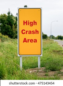 New Zealand Road Sign, High Crash Area, warning drivers to be alert as they drive in this area, known to be high risk for traffic accidents.