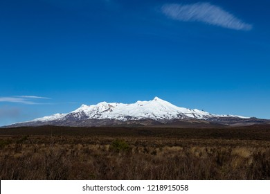 New Zealand scenery at its best. Mount Ruapehu capped with snow.