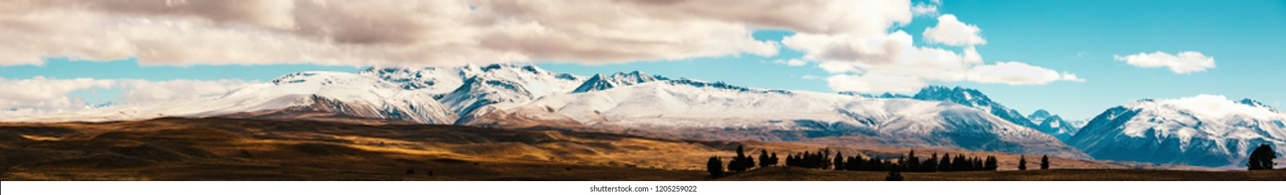 New Zealand scenic mountain landscape shot at Mount Cook National Park daytime