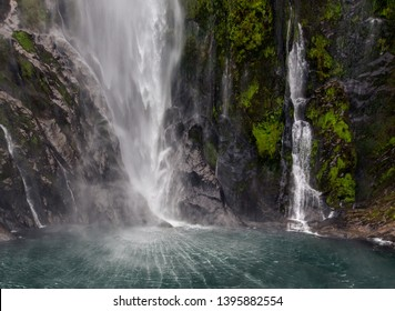 New Zealand. South Island. Milford Sound fjord. The foot of the Stirling Falls (the greatest waterfalls at this fjord)