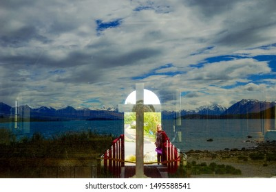 New Zealand, South Island. Situated on the shores of Lake Tekapo is the Church of the Good Shepherd. Reflection from looking in window from outside. 1th of November 2018