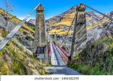 New Zealand South Island - Skippers suspension bridge over the Shotover River on Skippers Canyon Road north of Queenstown in the Otago region