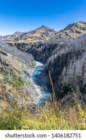 New Zealand South Island - Skippers Canyon at the Skippers Bridge on the Skippers Canyon Road north of Queenstown in the Otago region