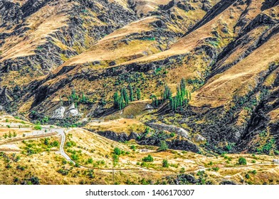 New Zealand South Island - Valley at the Skippers Bridge on the Skippers Canyon Road north of Queenstown in the Otago region