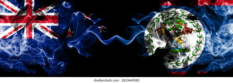 New Zealand vs Belize, Belizean smoky mystic flags placed side by side. Thick colored silky abstract smoke flags