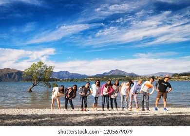 NEW ZEALAND, WANAKA - JANUARY 2016: A group of friends standing in a row in front of the famous Wanaka Tree. Wanaka is a popular tourist and traveler destination in New Zealand.