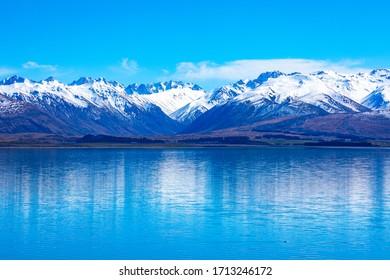 New Zealand's Southern Alps in Springtime. Lake Tekapo