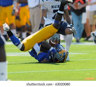 NEWARK, DE - OCTOBER 9: University of Delaware wide receiver Phillip Thaxton (#31) lands hard, head first, on the turf after a tackle in a game against Maine October 9, 2010 in Newark, DE.
