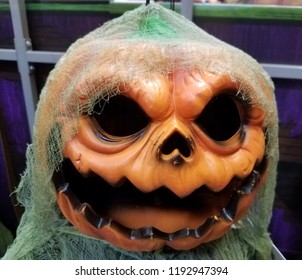 Newark, Delaware, U.S.A - September 29, 2018 - Scary pumpkin ghost for Halloween decoration at Lowe's