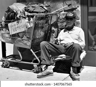 Newark, DE/United States - May 24, 2019:  A Homeless Vietnam Veteran on Memorial Day Weekend