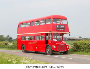 NEWARK ENGLAND, MAY 26 2018. Ex London Transport 1960 AEC Routemaster double deck bus on a preserved passenger service.