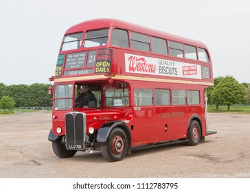 NEWARK ENGLAND, MAY 26 2018. Ex London Transport 1950 AEC Regent double deck bus.