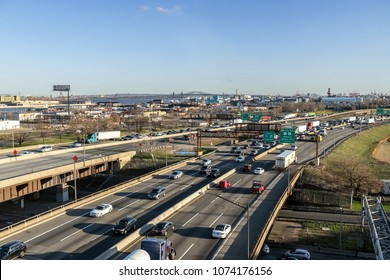 NEWARK, NEW JERSEY - APRIL 20 - A wide angle view of the New Jersey Turnpike on April 20 2018 in Newark New Jersey.