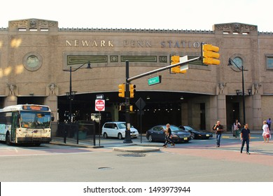 Newark, New Jersey - August 15th 2019: View of the Market Street side of the busy Newark Penn (Pennsylvania) bus and rail station.