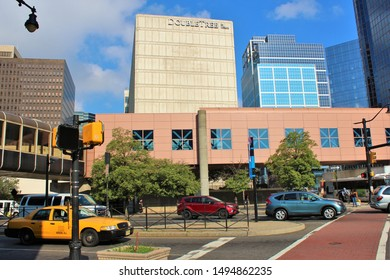 Newark, New Jersey - August 15th 2019: View across a busy highway, of the Double Tree Hilton Hotel in Newark, NJ, taken from outside the Newark Penn Station, opposite.