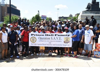NEWARK, NEW JERSEY - JULY 25 2015: More than one thousand activists gathered for a rally & march against police brutality.