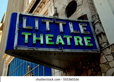 Newark, New Jersey - July 4, 2009: Marquee with outlined neon letters at the Little Theatre on Broad Street