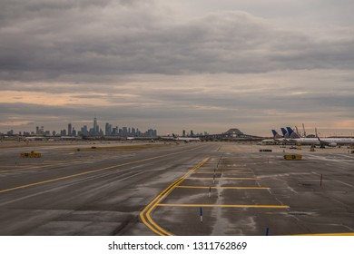 Newark, New Jersey, USA, January 2019, Newark Liberty International Airport apron view with the Manhattan skyline in the background
