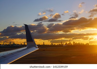 NEWARK, NJ -16 MAR 2019- Sunrise view of the Manhattan skyline seen from Newark Liberty International Airport (EWR) in New Jersey near New York City, a major hub for United Airlines.