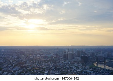 NEWARK, NJ -28 JUL 2019- Aerial view of the city of Newark, the largest town in New Jersey.