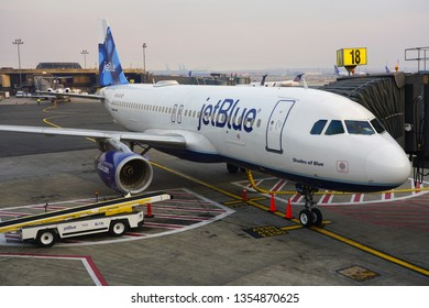 NEWARK, NJ -30 MAR 2019- The Airbus A320 plane Shades of Blue from JetBlue (B6) at the Newark Liberty International Airport (EWR).