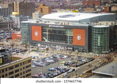 Newark, NJ - April 10, 2019: View of Prudential Center arena in downtown Newark