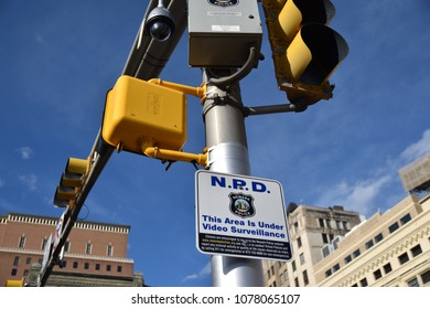 Newark, NJ - April 26, 2018: Surveillance camera in downtown Newark. On April 26, the city unveiled a program for people to patrol neighborhoods virtually through real-time streamed cctv feeds online.