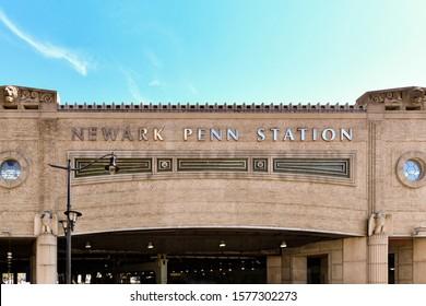 Newark, NJ - Aug 21, 2019: Newark Penn Station building in Newark, New Jersey.