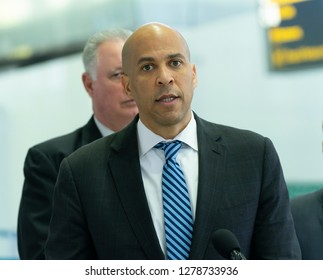 Newark, NJ - January 8, 2019: Menendez, Booker, Sires, Payne demand end Trump shutdown during press encounter at Newark International Liberty airport terminal B