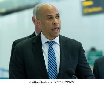 Newark, NJ - January 8, 2019: Menendez, Booker, Sires, Payne demand end Trump shutdown during press encounter at Newark International Liberty airport terminal B