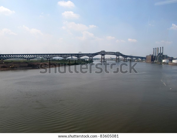 NEWARK, NJ - JULY 22: The General Pulaski Skyway, shown on July 22, 2011, connects Newark and Jersey City, NJ, crossing the Passaic and Hackensack Rivers.  It carries part of US Routes 1 & 9.