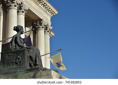 Newark, N.J. – Oct. 27, 2017: Justice statue at the historic Essex County Courthouse in Newark, New Jersey