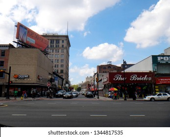 Newark, NJ - September 19 2015: View of the shops and retailers along Broad Street in downtown Newark