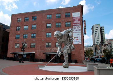 Newark, NJ - September 19 2015: Giant steel hockey player sculpture at the New Jersey Devils Championship Plaza outside the Prudential Center