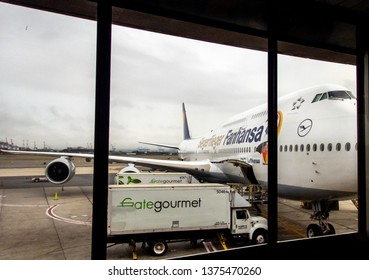 Newark, NJ / USA - 06/28/2016 loading big plane for transatlantic flight
