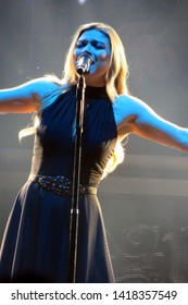 Newark, NJ/USA - December 22, 2018: Singer Ashley Hollister performs in concert with Trans-Siberian Orchestra.