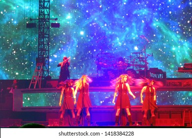 Newark, NJ/USA - December 22, 2018: Vocalists with the band Trans-Siberian Orchestra perform in concert.