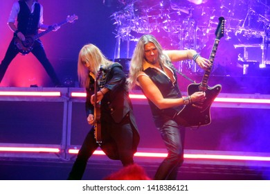 Newark, NJ/USA - December 22, 2018: Guitarists Chris Caffery and Joel Hoekstra rock out in concert with the Trans-Siberian Orchestra.